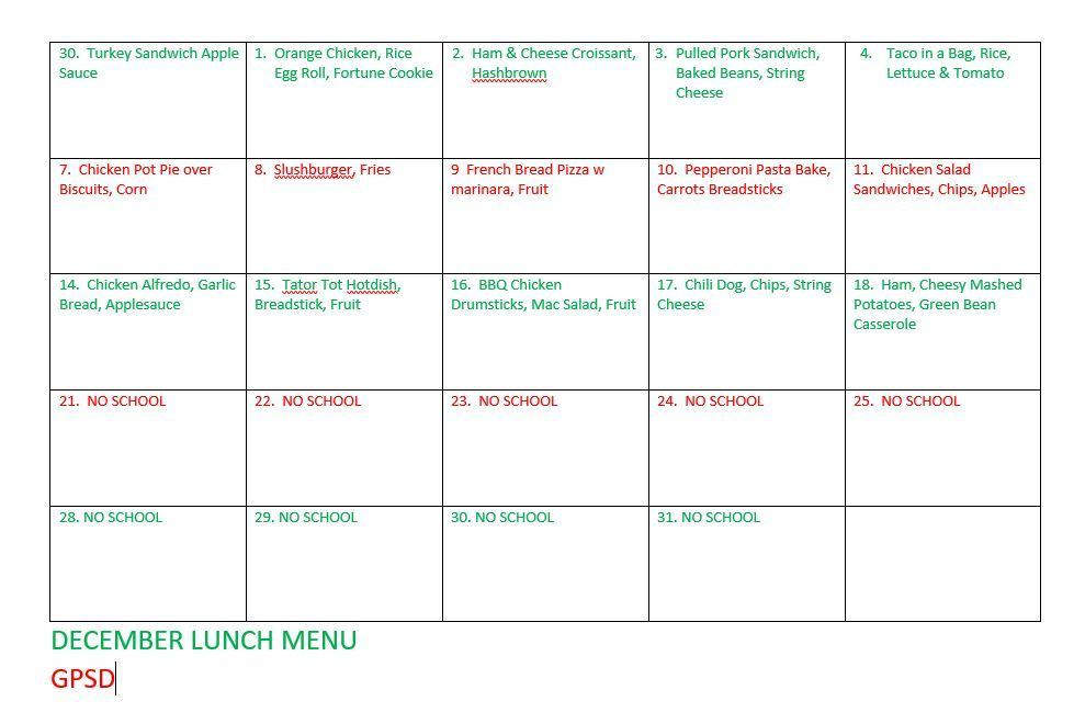 Dec Lunch Menu