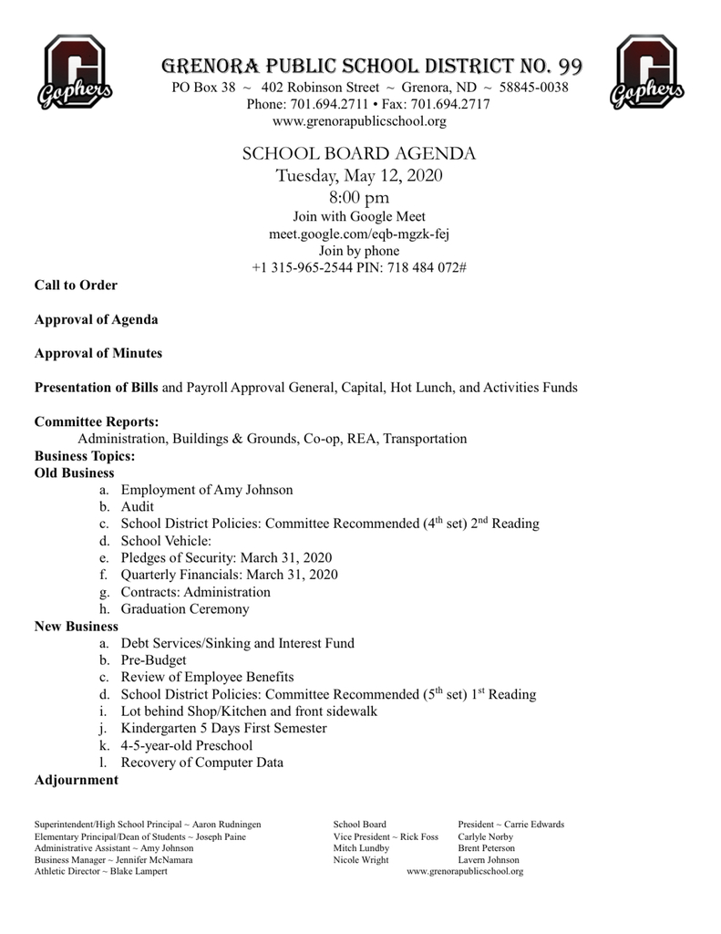Updated School Board Agenda