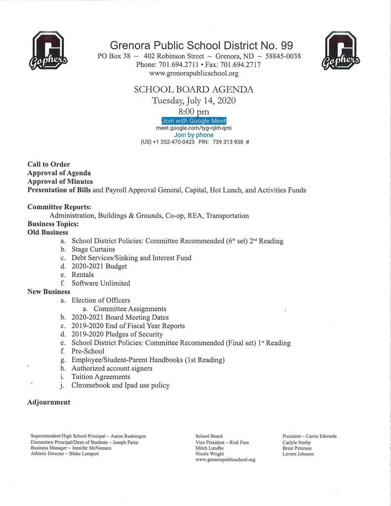 July School Board Agenda